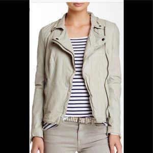 Muubaa Monteria Leather Moto Jacket SandStone Grey